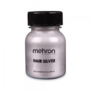 Mehron краска для волос  серебро  30 мл с кистью