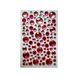 Стразы самоклеющиеся микс розовые круглые камни
