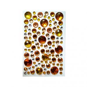 Стразы самоклеющиеся микс желтые круглые камни